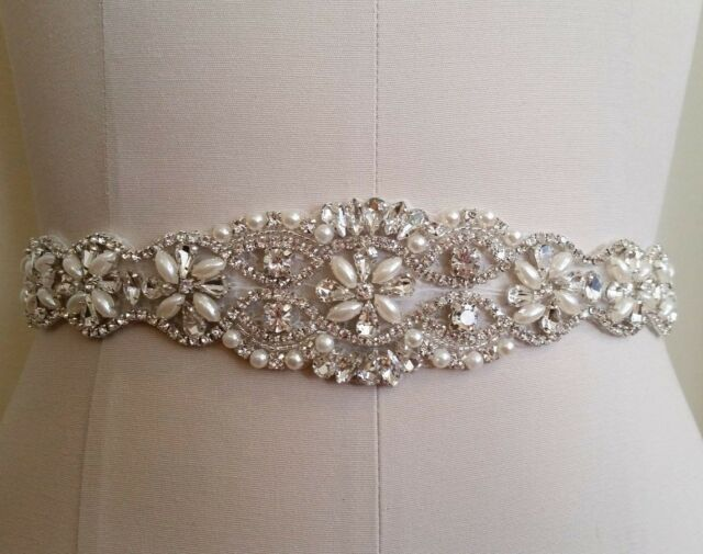 Wedding Dress - Crystal Pearl APPLIQUE part only! = DIY! = 12 inch long