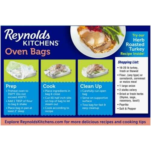Reynolds Kitchens Turkey Size Oven Bags 19 x 23.5 inch 2 Count Details about  / BPA Free
