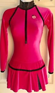 GK-FIGURE-SKATE-DRESS-ADULT-X-SMALL-LgS-PINK-VELVET-ZIP-TURTLENECK-FOIL-TRIM-AXS