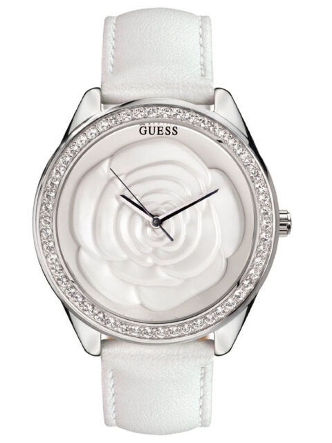 03d4158f5 Guess Women's Stainless Steel Case Crystals White Leather Band Watch  W85075L1