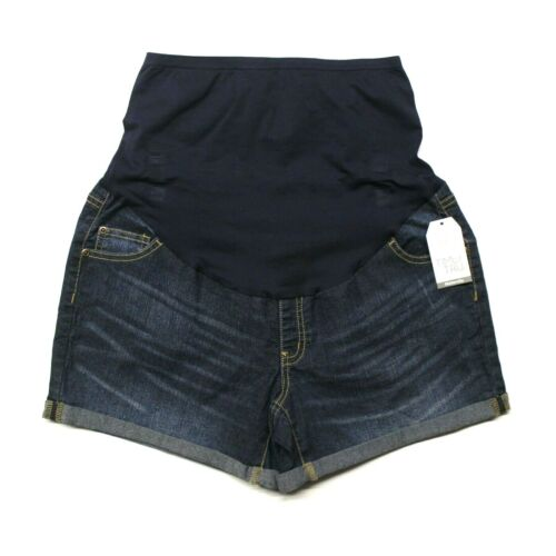 Dark Wash Women/'s Time And Tru Maternity Over The Belly Shorts