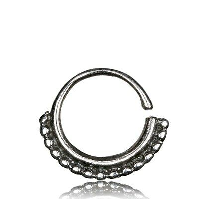 SMALL ORNATE 16G STERLING SILVER DOTS HANGING SEPTUM 9MM RING NOSE HELIX HOOP