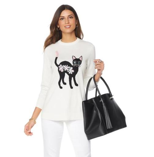 DG2 by Diane Gilman  Mr. Fuzzy Fuzzy Fuzzy  Embellished Sweater in Ivory, XS 3c4bd9