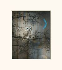 Rustic Brown Blue Owl On Tree Branch Moon Home Decor Matted Wall Art Picture