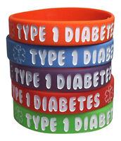 Kids Diabetic Bracelets Type 1 Medical Id Rubber Alert Awareness(pack Of 5)