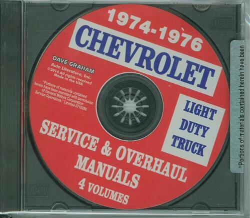 1974-76 CHEVROLET TRUCK FACTORY  SHOP /& OVERHAUL  MANUAL ON CD-LIGHT DUTY TRUCKS