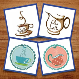 11 Machine Embroidery Designs Tea Cup Drinks Are Served! Hot Coffee