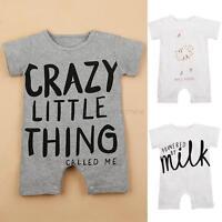 Newborn Kids Baby Boys Girls Short Sleeve Romper Jumpsuit Bodysuit Outfits 0-12M