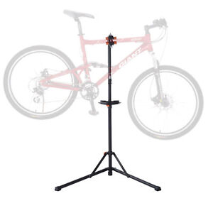 HOMCOM-Steel-Bike-Adjustable-Cycle-Repair-Stand-Folding-Bicycle-Rack-Tool-Tray