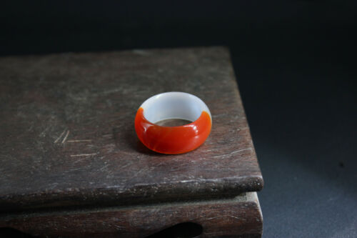 1.7CM  bore size China Natural ice agate ring Hand-carved Pendant NO14