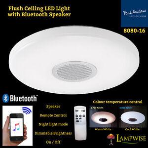 8080 16 Flush Ceiling Led Light Bluetooth Speaker Remote Control Brightness Ebay