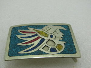Vintage-Inlaid-Mexico-Warrior-Belt-Buckle-1-5-034-Belt-Mixed-Inlaid-Chips