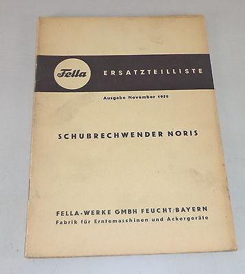 1959 Lovely Parts Catalog Fella Schubrechwender Noris Series 1958 Motors Farming & Agriculture
