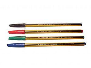Set of 6 Red Staedtler Noris Stick Ballpoint Pen Blue 1 mm Black