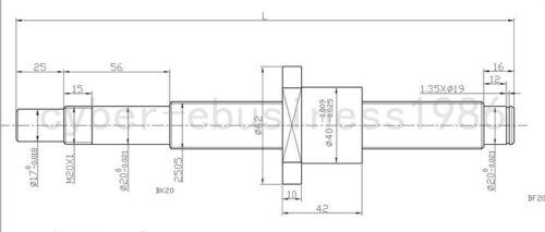 Anti-backlashed RM2505--1800mm  Ballscrew /&BF20//BK20 /& 20*17mm Coupling