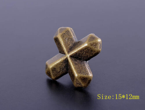 30pc 15*12MM DIY SOLID COPPER CROSS BUTTON CONCHO STUD RIVET LEATHER CRAFT BIKER