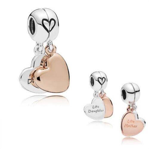 Argent Sterling 925 Mère /& Fille Coeur Split Dangle Charm montage Bracelet