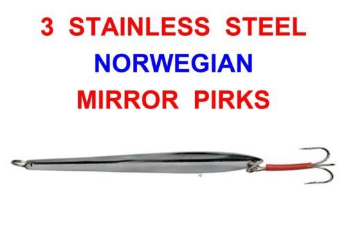 3 X 110g NORWEGIAN MIRROR PIRKS NORWAY SEA BOAT ROD FISHING NORDIC COD JIG LURES
