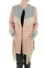 DROME New Woman Multi-Color LEATHER Fringes Hooks Closure Jacket Coat Sz S $1276