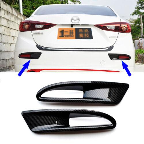 Carbon Fiber Style ABS Rear Fog light Lamp Cover Trim For Mazda 3 4Dr Sedan 14+