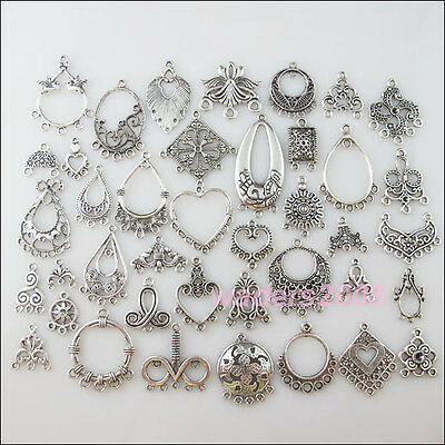 40 New Mixed Lots of Silver Tone Connecors Leaf Flower Heart etc.Charms