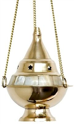 """Brass Pearl Inlay Smudge Pot Resin Incense Censer Burner-Cones-Charcoal 4/""""D"""