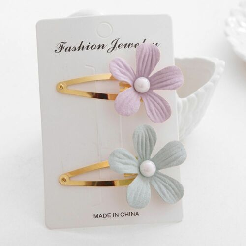 2 Pcs Cute Flower Floral Pearl Hair Clips Baby Children Headwear Hairpins
