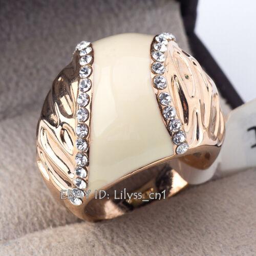 A1-R3006 Fashion Glaze Dome Ring 18KGP CZ Strass Cristal Taille 5.5-9