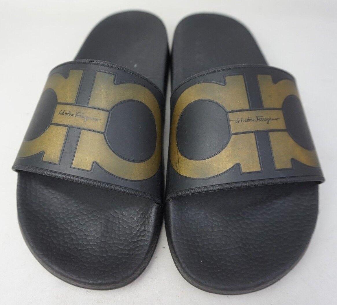 Salvatore Ferragamo Groove Logo Spa Slide Black black gold Sandals Size 7 M Men's