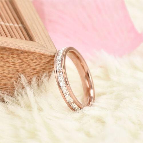 Motif Géométrique Femmes Mode Bague de Mariage Or Rose Bague Anneaux en Acier pour Femmes