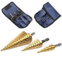 3 Pcs Large HSS Step Titanium Cone Drill Hole Cutter Bit Set Tool With Pouch