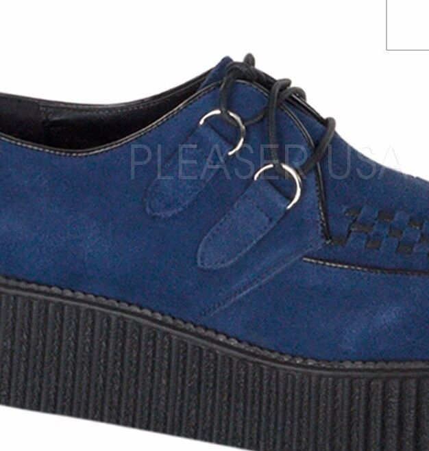 Demonia Creeper 402 Blue Navy Suede Shoes Unisex Creepers Hi Sole Shoes Suede Punk Rock 0ff3b4