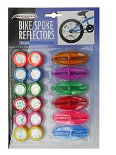 BIKE SPOKE REFLECTORS 18 PC BICYCLE CYCLE COLOURFUL  BE SEEN BE SAFE   FREEPOST!