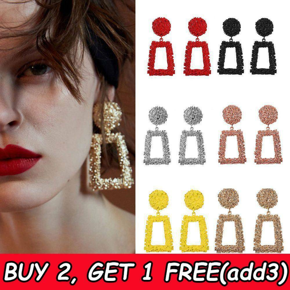Jewellery - Fashion Punk Jewelry Geometric Dangle Drop Earrings Metal Statement Big Gold