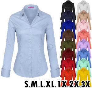 numerous in variety check out modern style Details about KOGMO Women's Solid Long Sleeve Button Down Office Blouse  Dress Shirt (S-3X)