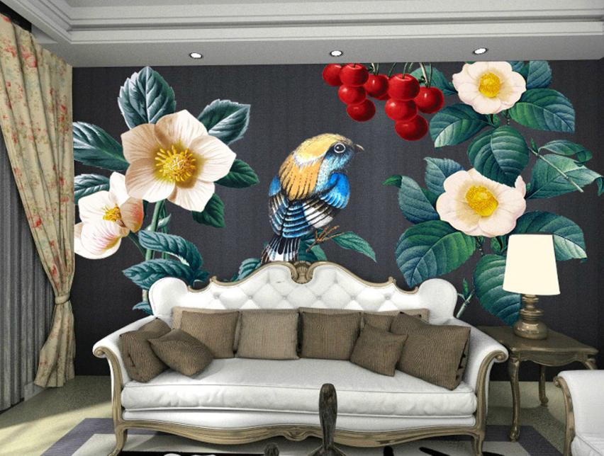 Papel Pintado Mural De Vellón Flores Frutas Pájaros 2 Paisaje Fondo De PanGröße