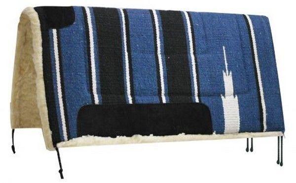 Showman 30 x30  blueE Navajo Saddle Pad w  Kodel Fleece and Suede Wear Leathers
