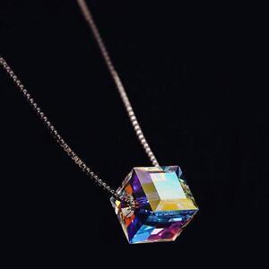 Genuine-Kristall-Liebe-Box-Anhaenger-Versilbert-Kette-Halskette-46cm