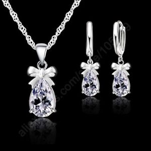 Wedding-Bridal-Party-Jewelry-925-Sterling-Silver-Sets-Necklace-Earrings-TK5-A