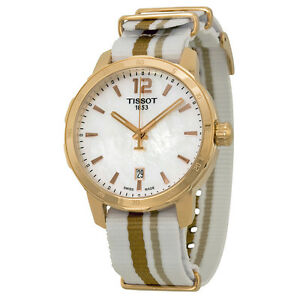 Tissot-Quickster-Mother-of-Pearl-Dial-Striped-Nylon-Strap-Mens-Watch