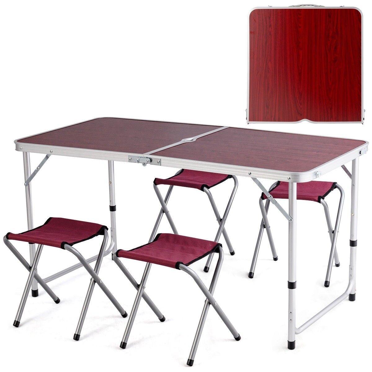 Al aire libre, barbacoa, aluminio, mesa plegable, cuatro sillas, muebles.