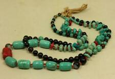 fashion multi strands necklace/black agate, turquoise,coral/howlite (g214-w3.5)