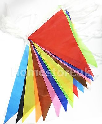 MULTICOLOUR COLOUR BUNTING 10M METRE 20 FLAGS BANNER BIRTHDAY DECORATION PARTY