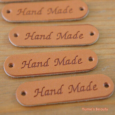 "5pcs / 20pcs: Synthetic PU Leather Labels/ ""Hand Made"" tag/ Sewing Craft DIY"