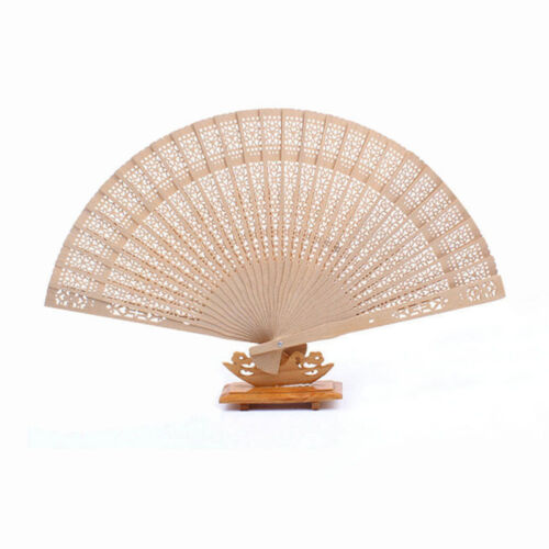 Damen Chinese Style Hollow Wooden Folding Bamboo Carved Hand Fan ScentGeschenk.~