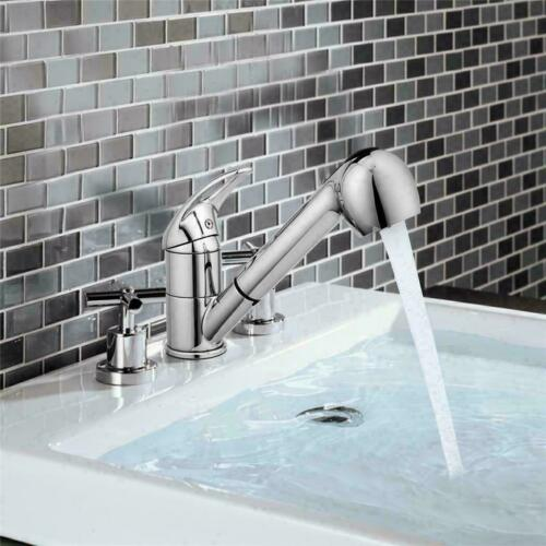 Details about  /Home Kitchen Faucet Pull Out Sprayer Single Handle Stainless Steel Sink e 02