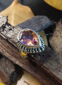 Sterling-Silver-925-Handcrafted-Mystic-Topaz-Twilight-Pear-Shape-Ring-Size-6