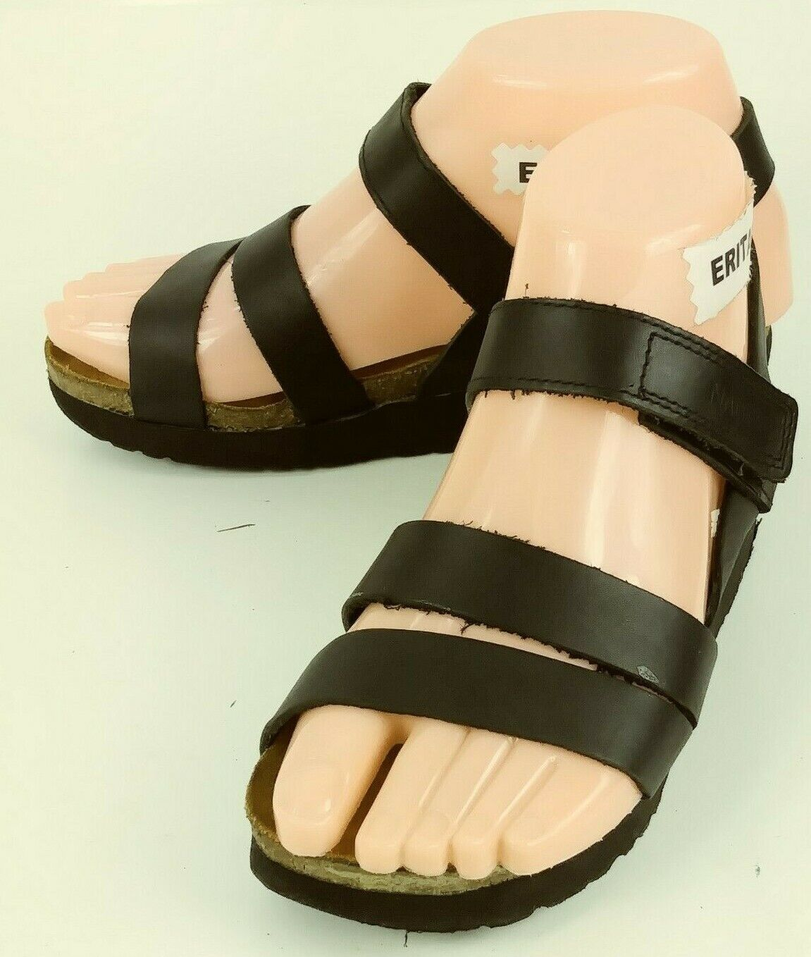 Naot Womens shoes Sandals EU 35 US 4 Black Leather Ankle Strap Wedge 291