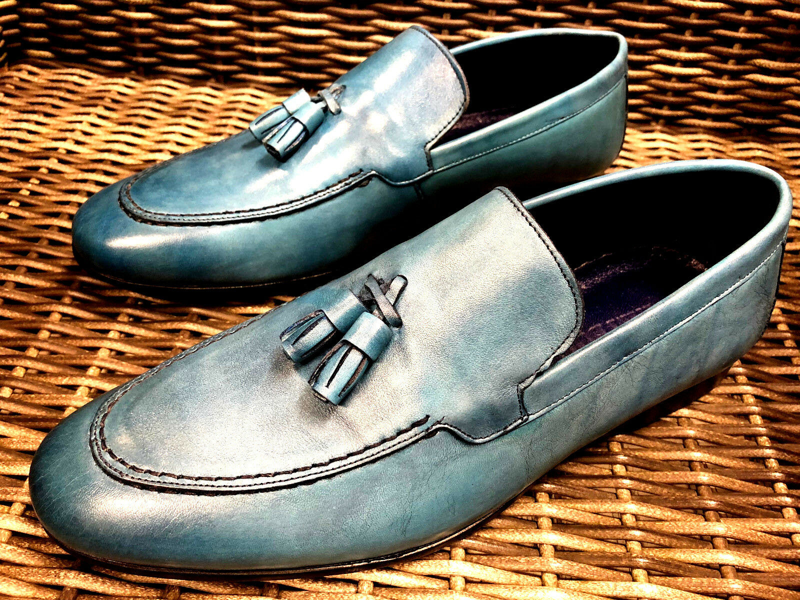 DESIGNER SLIPPER DENIM blue MOKASSIN MOKASSINS HANDARBEIT LEDER HERRENSCHUHE 44