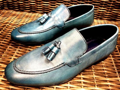 En Mocassins Designer Hommes La Cuir Mocassins Main Mocassins Bleu Chaussures 40 Pantoufles 0AZqO
